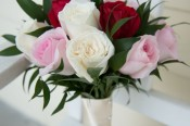 Bridal Rose Flowers & Grooms buttonhole - triple colors