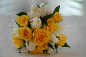 Bridal Rose Bouquet and Grooms buttonhole